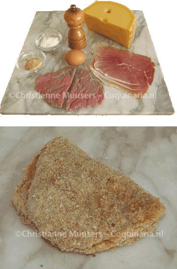 De ingrediënten van cordon bleu, en de cordon bleu voor het bakken