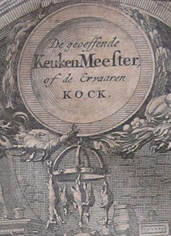 Detail of the frontispice of 'De Geoeffende keuken-Meester'