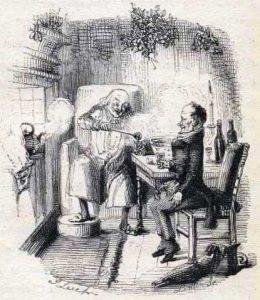 Scrooge en Bob Cratchit bij de haard met een kom bisschopswijn. John Leech, 1843, illustratie bij A Christmas Carol