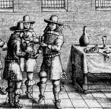 The drinkjng song on pickle herring. The fish in question is waiting on the corner of the table (Haarlems songbook, Royal Library, The Hague)