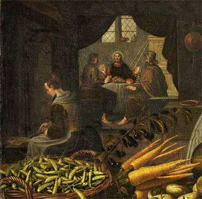 Erwtenpeulen op een schilderij van Floris van Schoten, ca 1630 (Rijksmuseum, SK-A-2058)