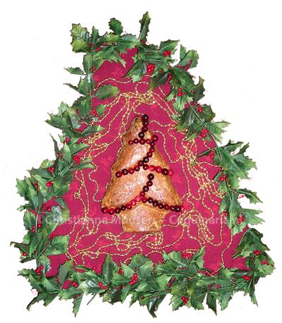 Feestelijk brood met gedroogde cranberries en walnoten