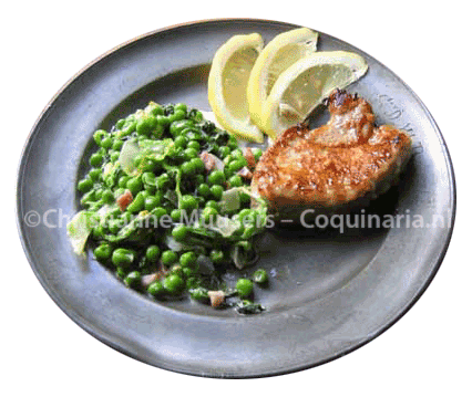 French garden peas with veal cutlet