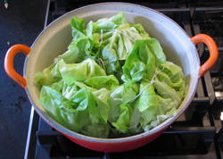 The meatballs in lettuce in the beginning of the preparation