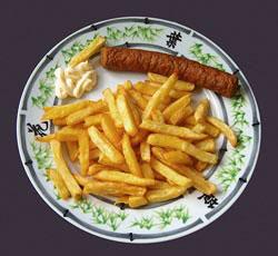 Frikadel met friet en mayo