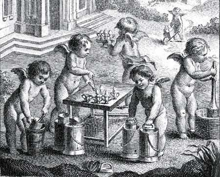 Putti maken ijs. Detail van het frontispice van L'art de bien faire les glaces d'office (1768)
