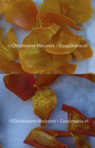 Mandarijnenschil, voor en na het drogen