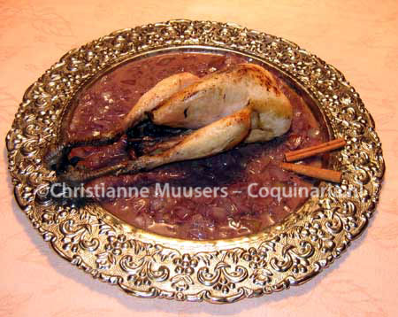 Pheasant, roasted and served with medieval onion sauce
