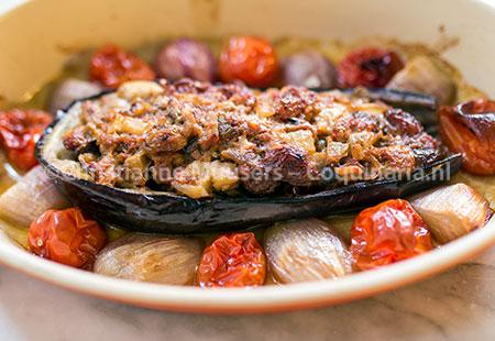 Gevulde aubergines, met en zonder vlees
