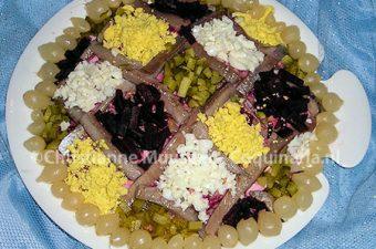 Traditional Dutch herring salad