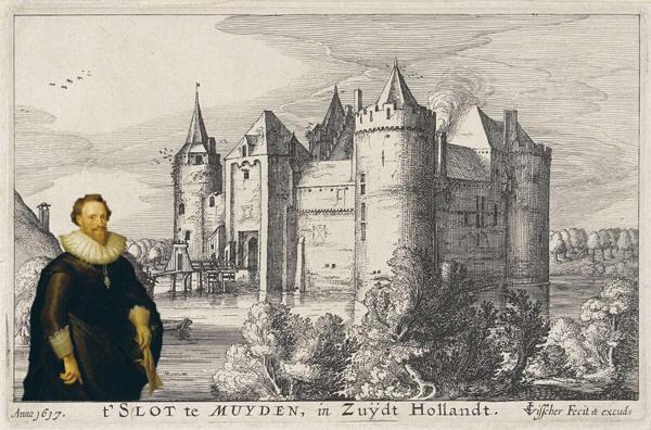 Het Muiderslot in 1617 met het portret van Pieter Cornelisz Hooft (naar Mierevelt, 1629)