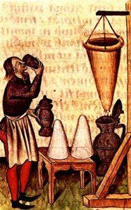 Hippocras dripping through Hippocrates' sleeve into a jug