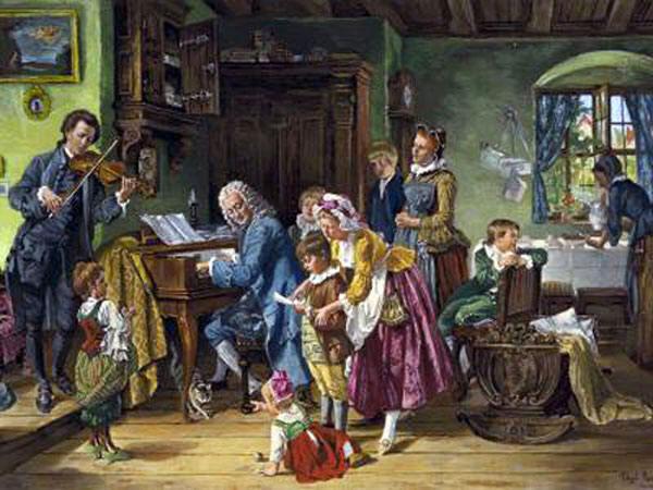 De familie Bach bij het ochtendgebed. Toby E. Rosenthal (1848-1917)