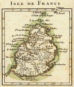 Kaart van het Isle de France uit 1791