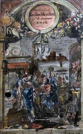 Frontispice van De Geoeffende en Ervaren Keuken-Meester (1701)