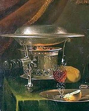 Komfoor. Detail van een schilderij van Willem Kalf (1622-1693)