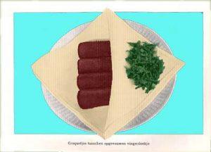 Vooroorlogse krokettten. Ingekleurde illustratie uit 'De soep en het tusschengerecht bij huiselijke dineetjes' van C.H.A. Scholte-Hoek (1936)