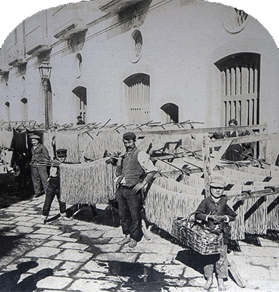 Naples, 1895 -Long 'macaroni' is drying in the street