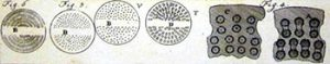 Bronzen schijven voor de extrusiepers voor verschillende pastavormen (Malouin, 1767)