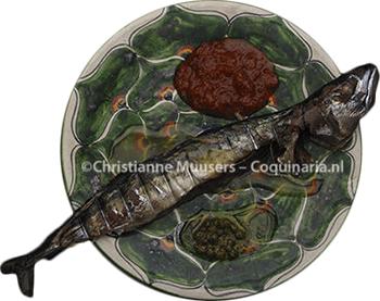Geroosterde makreel met bovenaan kruisbessensaus, links botersaus, onder kappertjessaus