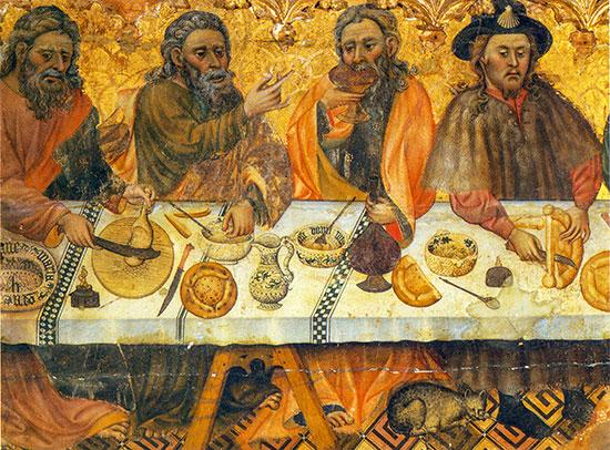 Apostles at the table (detail, Jaime Ferrer I, 1st half 15th century)