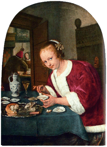 Girl with oysters, Jan Steen (1658/1660). Rijksmuseum, Amsterdam
