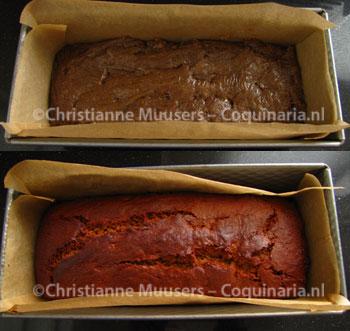 De peperkoek voor en na het bakken