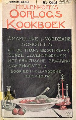 Stofomslag van het Oorlogs-kookboek van Meulenhoff