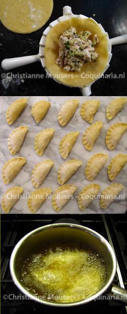 Van boven naar beneden: het vullen, de pasteitjes vóór het bakken, de pasteitjes in de geklaarde boter
