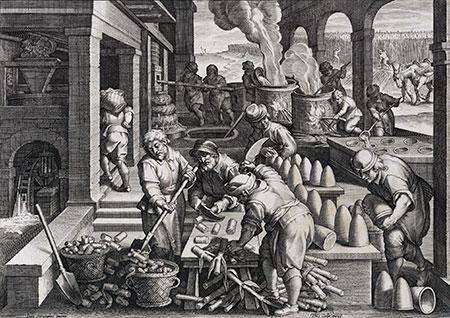 Productie van rietsuiker, Nova Reperta, Joh. Stradanus, ca 1590