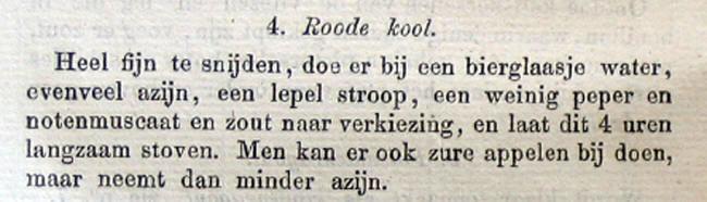 De tekst van het re4cept voor rodekool van betje uit 1851