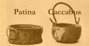 Patina en caccabus uit 'Roman Cookery' van Flower en Rosenbaum.