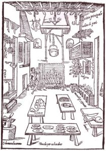 Kitchen. Illustration from the 'Opera' of Scappi (1570)