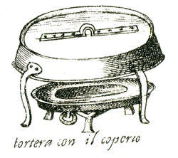 Illustration of a 'tourte pan' in Scappi's Opera