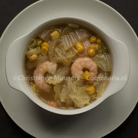Simpele soep 16 - Chinese kool met maïs en garnaal
