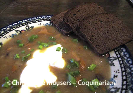 Russian mushroom soup prepared with the basic bouillon