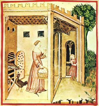 Afbeelding met eieren rapen in het Tacuinum Sanitatis Catanatense