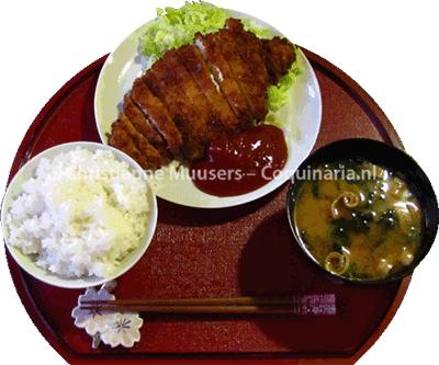 Tonkatsu met misosoep en rijst