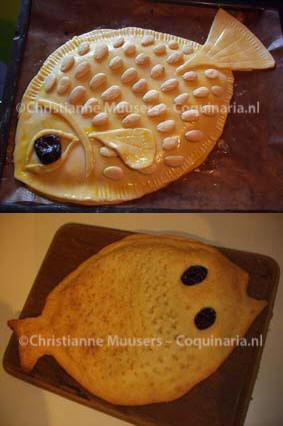 Twee versies van de nepvis, boven vóór het bakken, onder erna