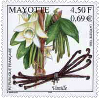 French stamp with vanilla-orchid and pods