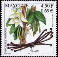 Franse postzegel met vanillestokjes en vanille-orchidee