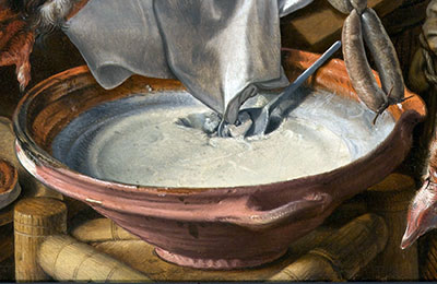 'Pot with lard', detailfrom the Butcher's shop - Pieter Aertsen (1551)