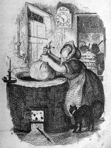 Boiling Christmas Pudding - George Cruikshank (1878, Life magazine)