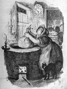 Boiling Christmas Pudding - George Cruikshank (1878, Life magazine)
