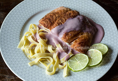 Salmon with red-wine-sauce. The pasta is not authentic..