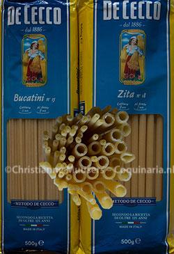 Bucatini and zita: long, hollow macaroni that looks like thick spaghetti