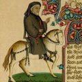 Chaucer als pelgrim, miniatuur uit het Ellesmere manuscript met de Canterbury Tales