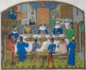Feast from Richard II with the Dukes of York, Gloucester and Ireland, ca 1386 (Jean de Wavrin, Recueil des croniques et anchiennes istories de la Grant Bretaigne, ca 1470)