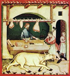 Medieval butcher, late 14th century (Tacuinum Sanitatis)