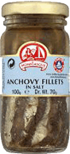 A jar of salted anchovy fillets